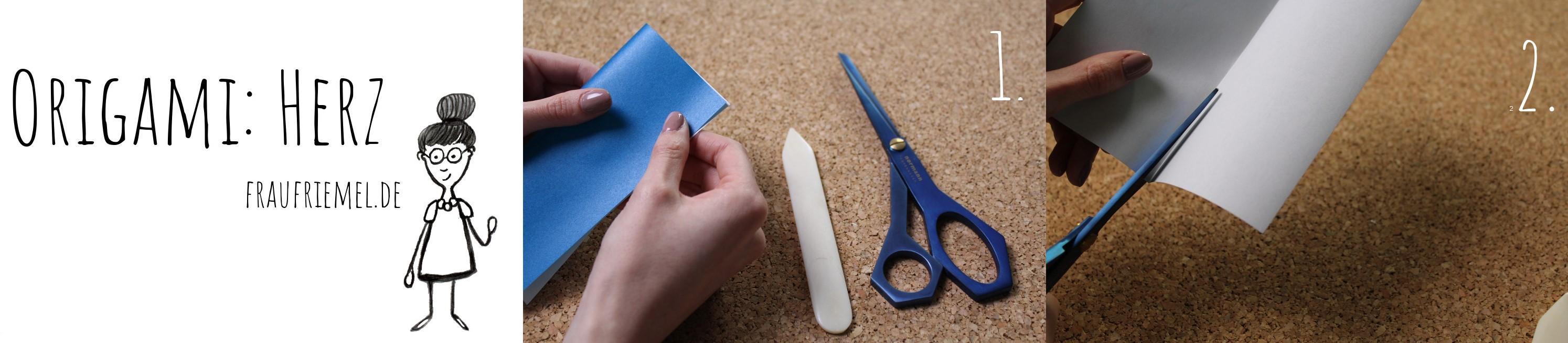 Origami Herz Anleitung von frau friemel Schritt 1-2