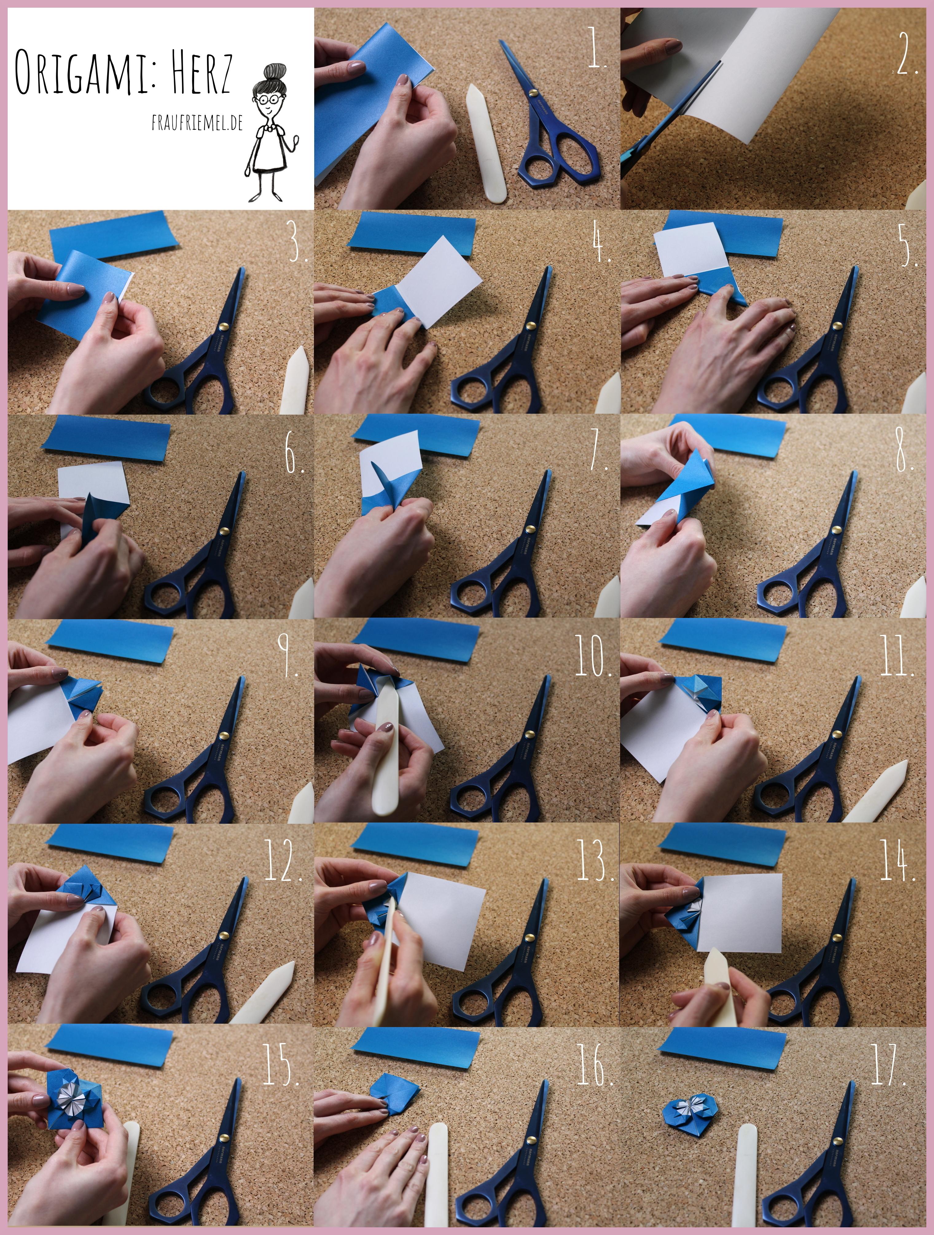 Origami Herz Bastelanleitung von frau friemel