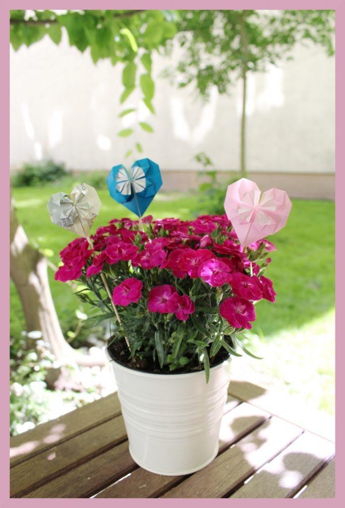 Origami Herzen im Blumentopf