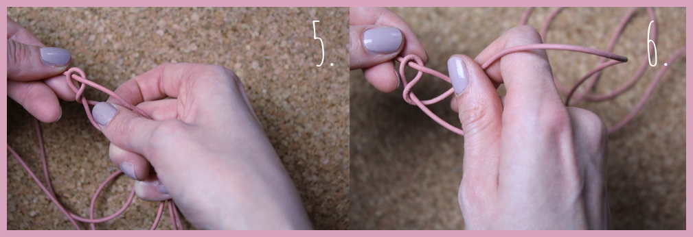 Armbänder knüpfen - Fischschwanz Armband flechten mit frau friemel Schritt 5-6