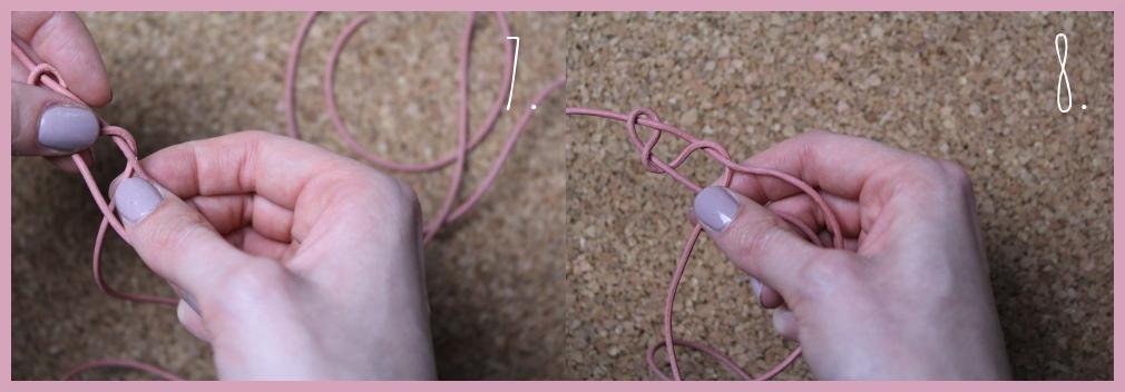 Armbänder knüpfen - Fischschwanz Armband flechten mit frau friemel Schritt 7-8