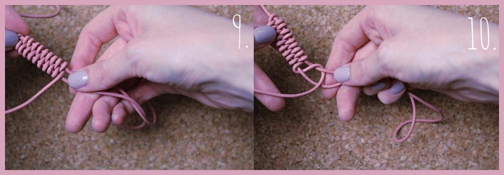 Armbänder knüpfen - Fischschwanz Armband flechten mit frau friemel Schritt 9-10