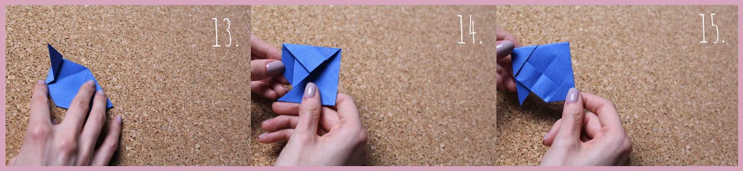 Origami Segelschiff Anleitung Schritt 13-15