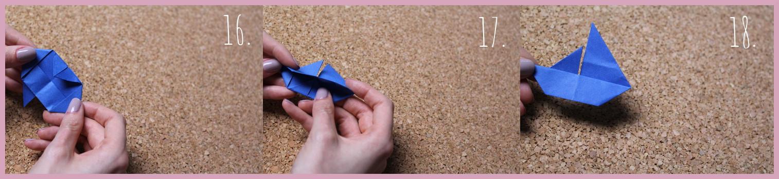 Origami Segelschiff Anleitung Schritt 16-18