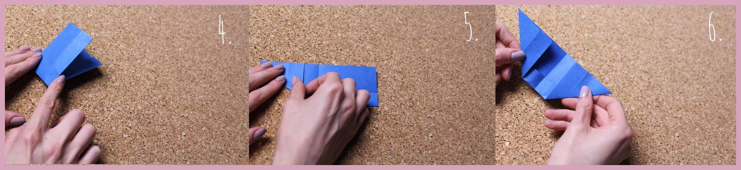Origami Segelschiff Anleitung Schritt 4-6