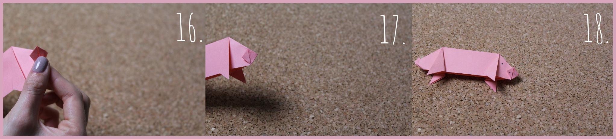 Origami Schwein Bastelanleitung von frau friemel Schritt 16-18
