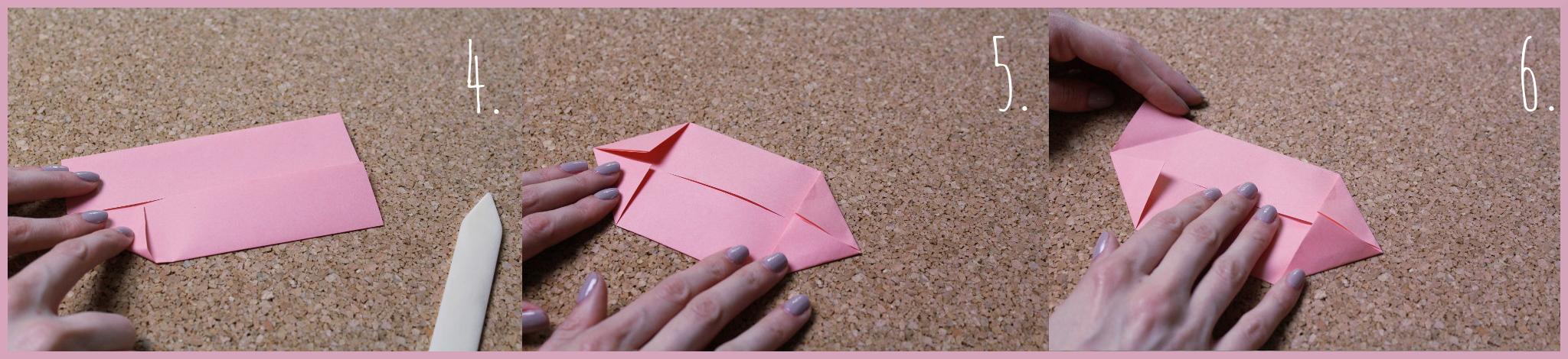 Origami Schwein Bastelanleitung von frau friemel Schritt 4-6