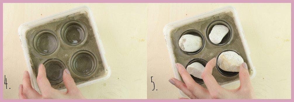 Teelichthalter aus Beton basteln mit frau friemel Schritt 4-5