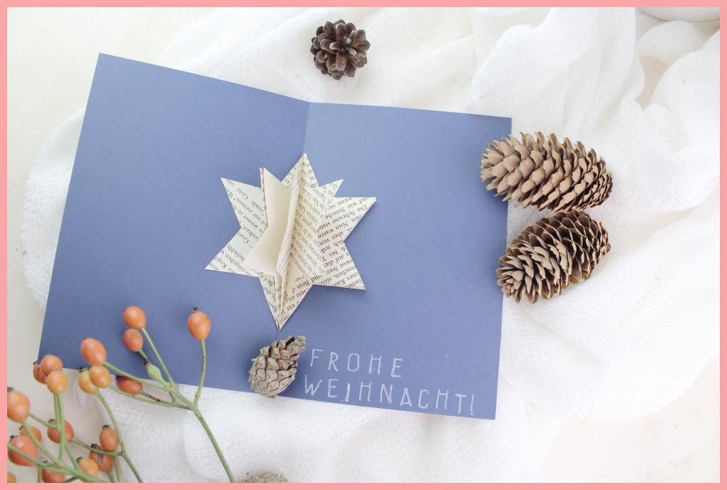 Basteln mit Bücher - Weihnachtskarte selber machen mit frau friemel