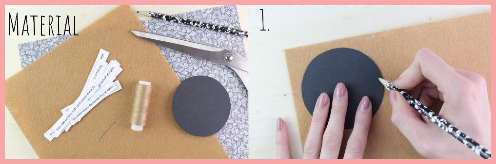 Partydeko selber machen - Glückskekse aus Filz Material und Schritt 1