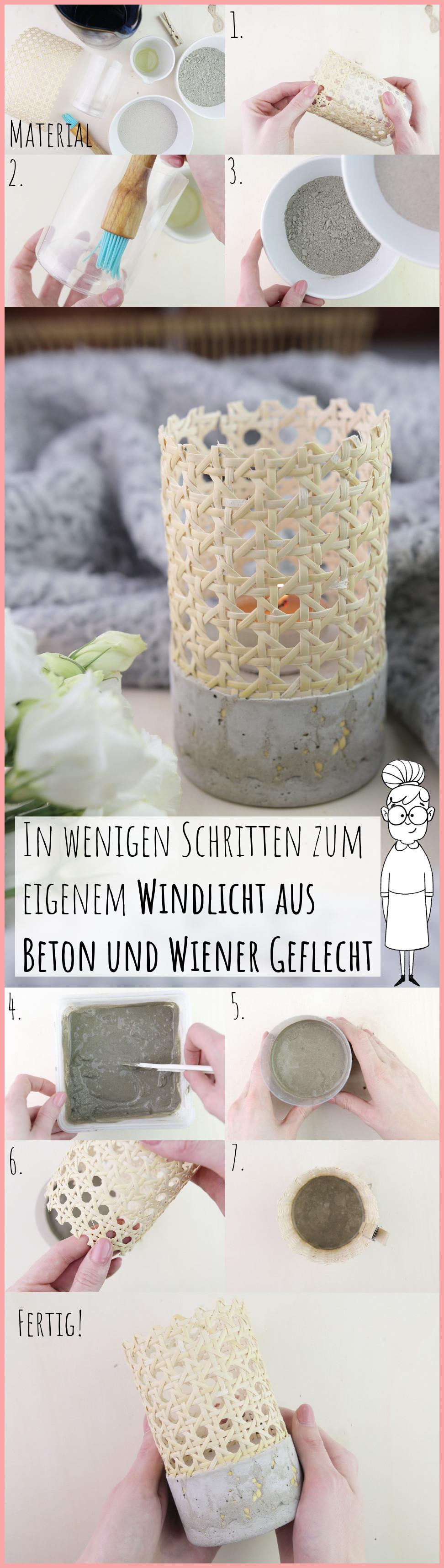 Betonwindlicht mit Wiener Geflecht selber machen mit frau friemel - Gesamtanleitung