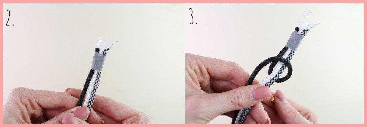 DIY Anleitung Paracord Armband flechten für Männer frau friemel - Schritt 2-3