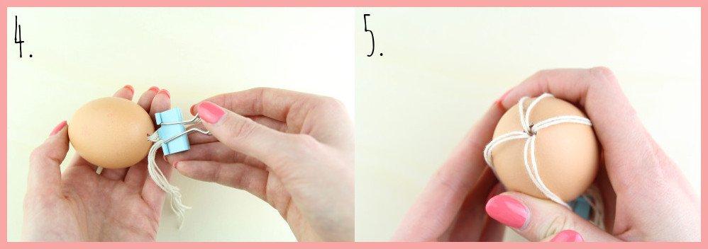 Boho Ostereier gestalten mit Makramee - Schritt 4-5