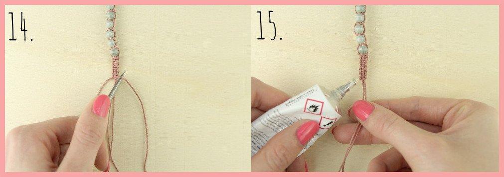 Makramee Armband Anleitung von frau friemel - Schritt 14-15
