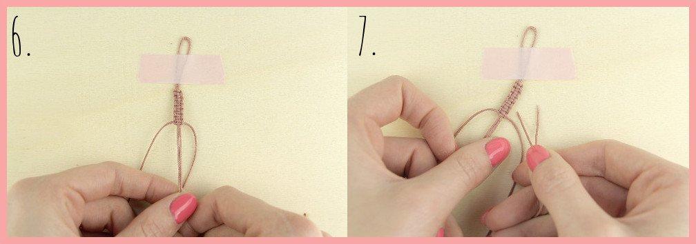 Makramee Armband Anleitung von frau friemel - Schritt 6-7