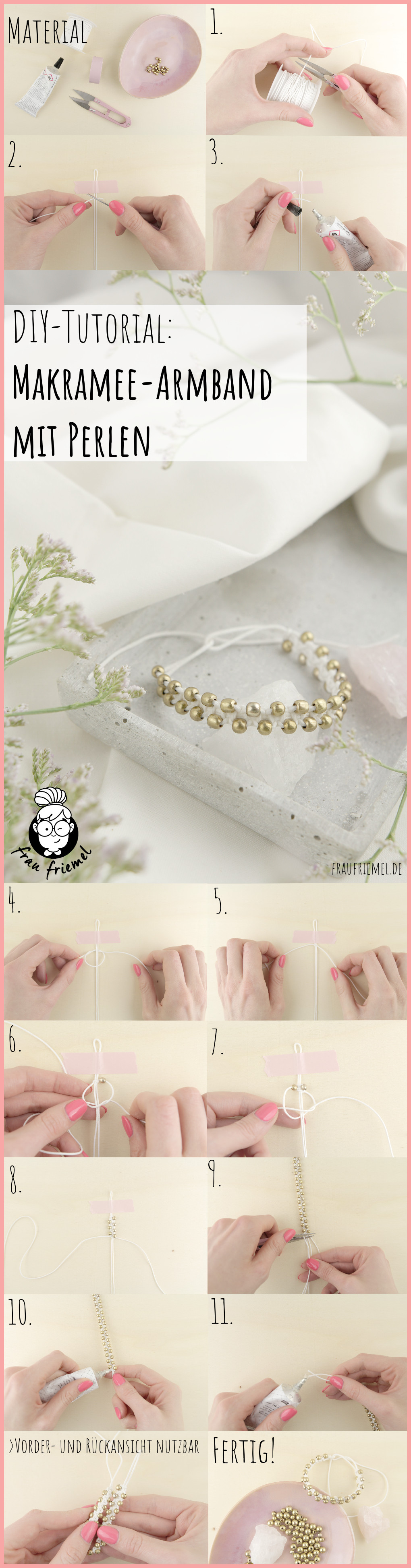Makramee-Armband knüpfen mit Perlen - Gesamtanleitung frau friemel