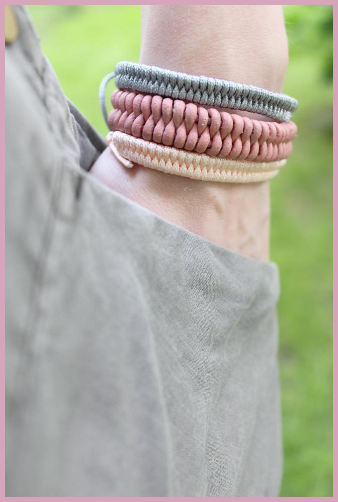 Armbänder knüpfen - Fischschwanz Armband aus Lederschnur und Perlgarn