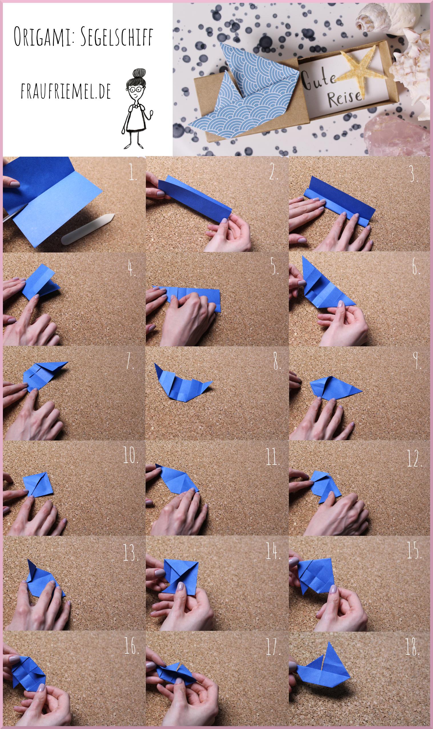 Origami Segelschiff Schritt-für-Schritt-Anleitung von frau friemel