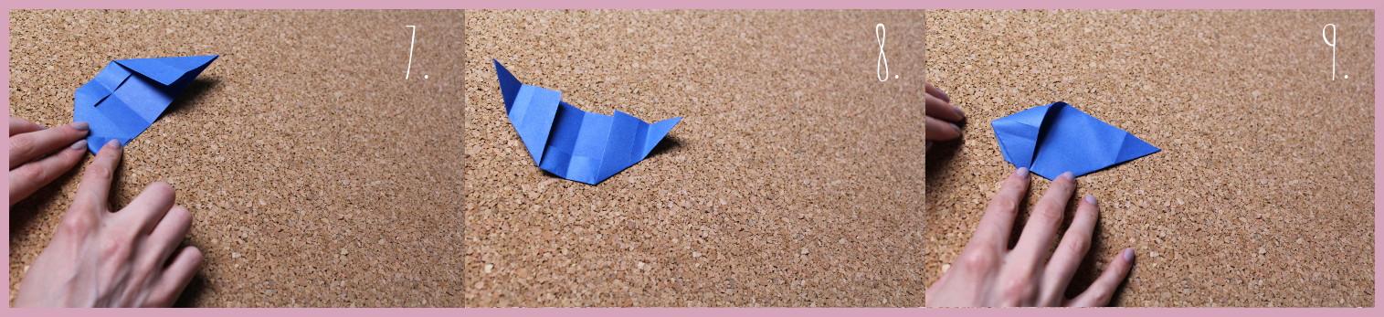Origami Segelschiff Anleitung Schritt 7-9