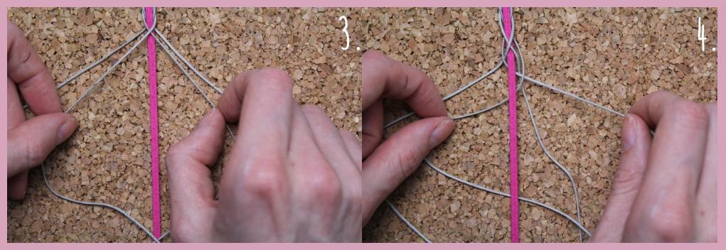 Anleitung für Armbänder flechten von frau friemel Schritt 3-4