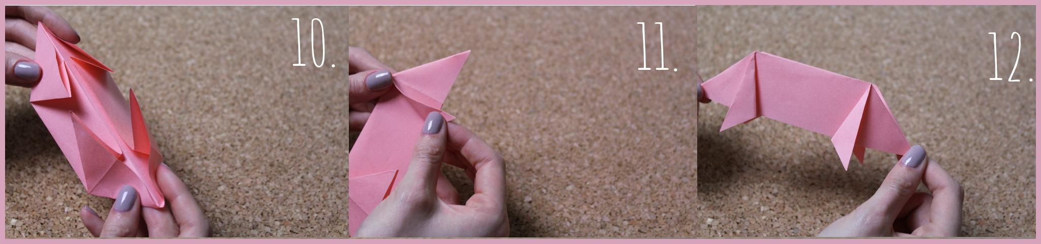 Origami Schwein Bastelanleitung von frau friemel Schritt 10-12