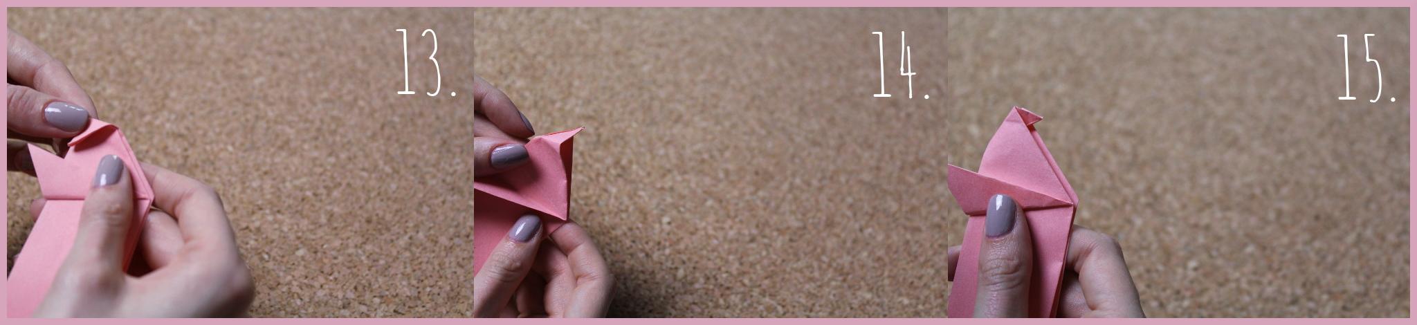 Origami Schwein Bastelanleitung von frau friemel Schritt 13-15