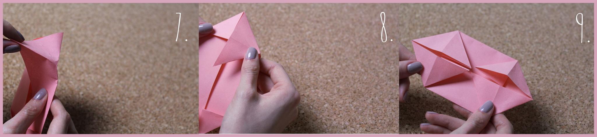 Origami Schwein Bastelanleitung von frau friemel Schritt 7-9