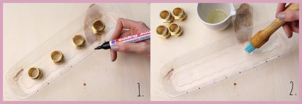 Anleitung für Beton Kerzenständer von frau friemel Schritt 1-2