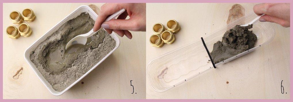 Anleitung für Beton Kerzenständer von frau friemel Schritt 5-6