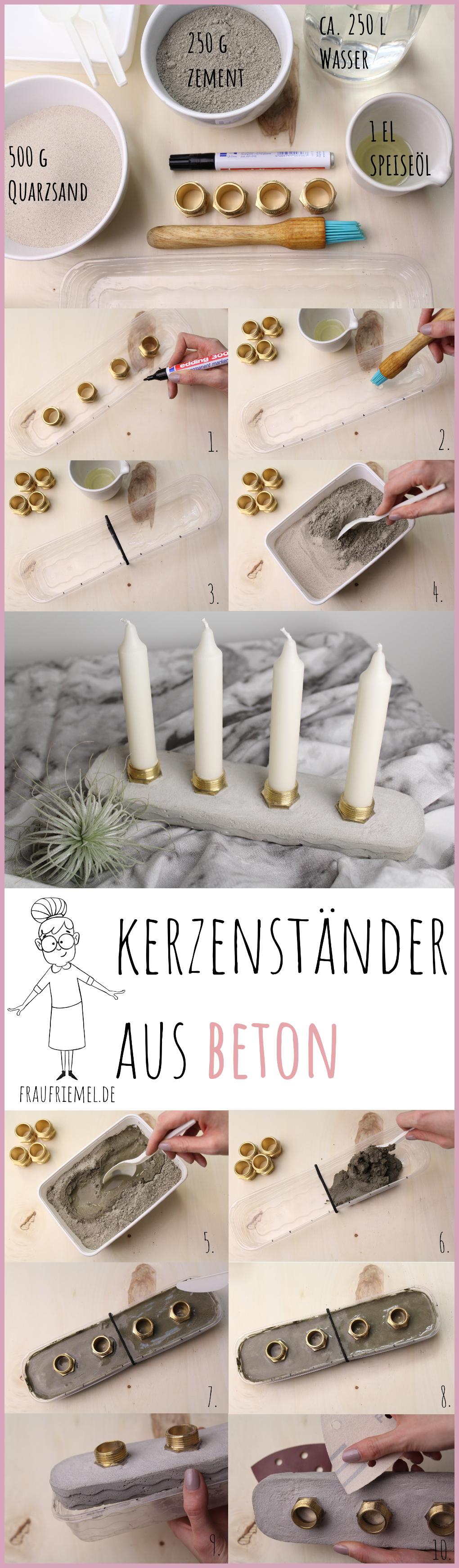 Anleitung für Beton Kerzenständer von frau friemel