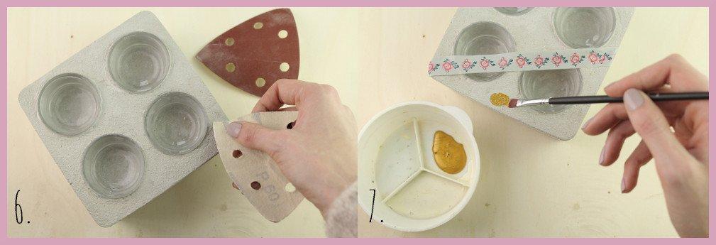 Teelichthalter aus Beton basteln mit frau friemel Schritt 6-7