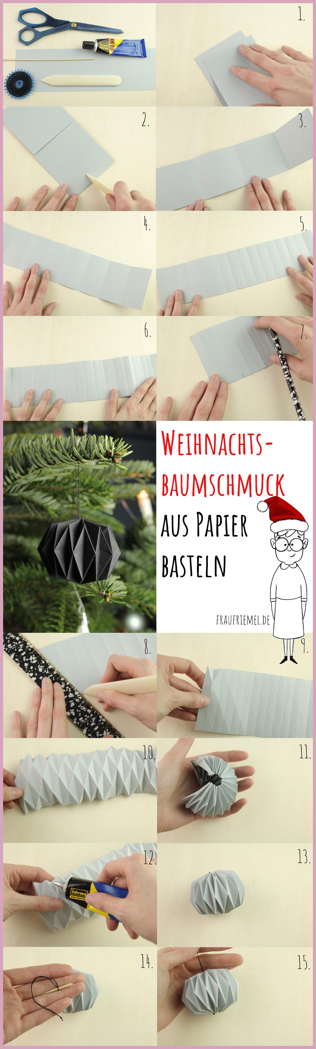 Gesamtanleitung Weihnachtsbaumschmuck aus Papier falten mit frau friemel