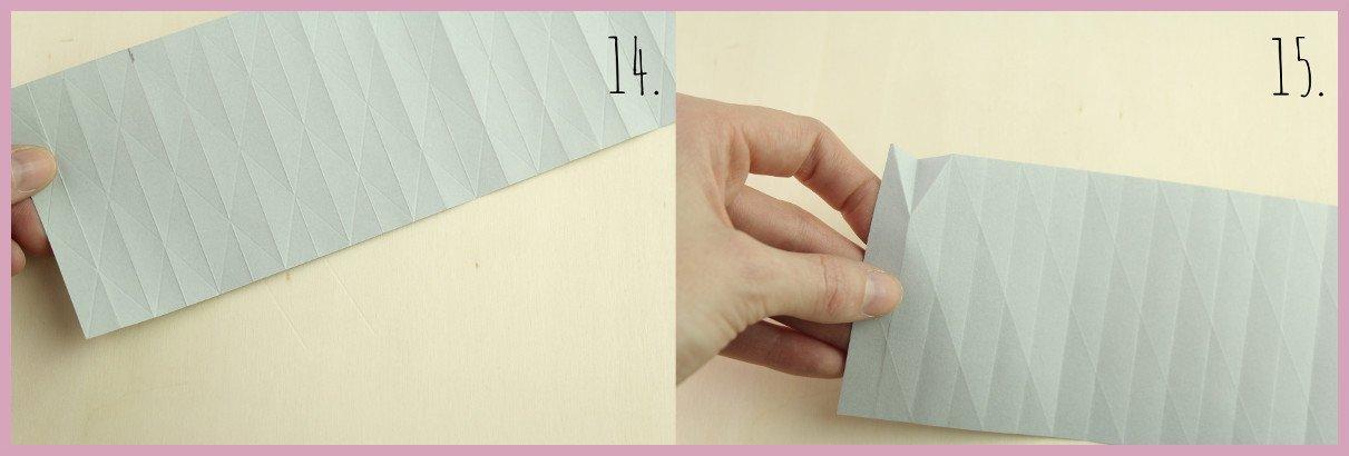 Weihnachtsbaumschmuck aus Papier falten mit frau friemel Schritt 14-15