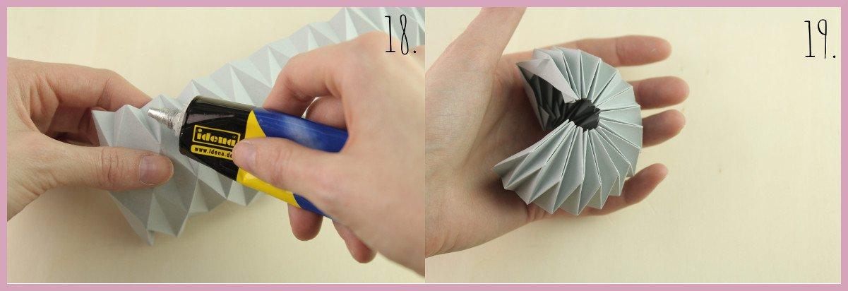 Weihnachtsbaumschmuck aus Papier falten mit frau friemel Schritt 18-19