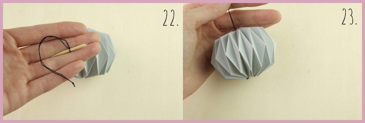 Weihnachtsbaumschmuck aus Papier falten mit frau friemel Schritt 22-23
