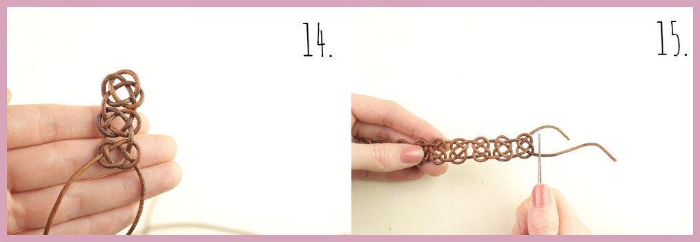 Armbänder selber machen - Lederarmband knüpfen mit frau friemel Schritt 14-15