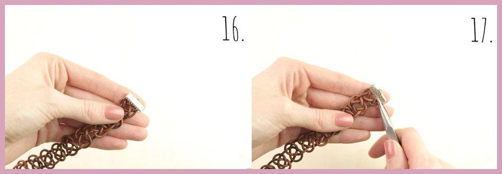 Armbänder selber machen - Lederarmband knüpfen mit frau friemel Schritt 16-17