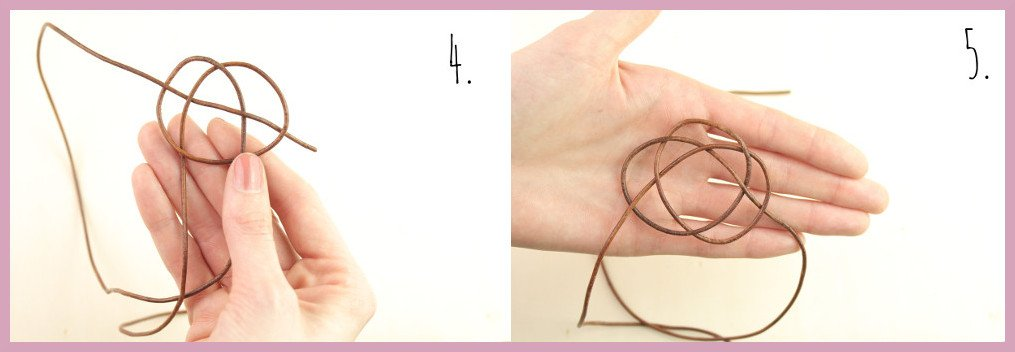 Armbänder selber machen - Lederarmband knüpfen mit frau friemel Schritt 4-5