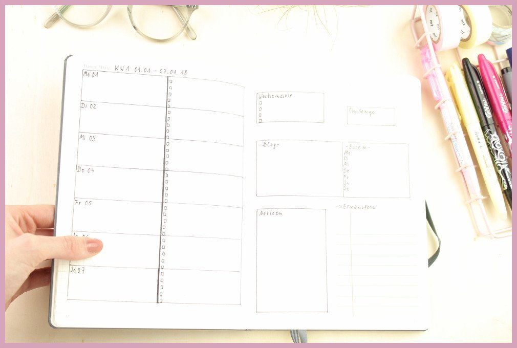 Leuchtturm Kalender Setup - Wochenübersicht von frau friemel