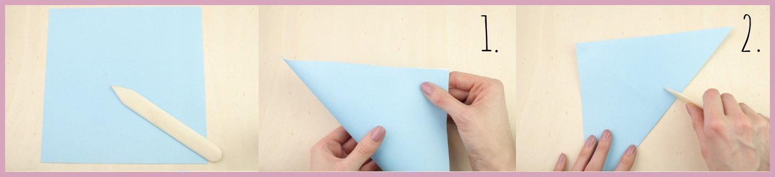 Anleitung Origami Huhn Schritt 1-2 von frau friemel