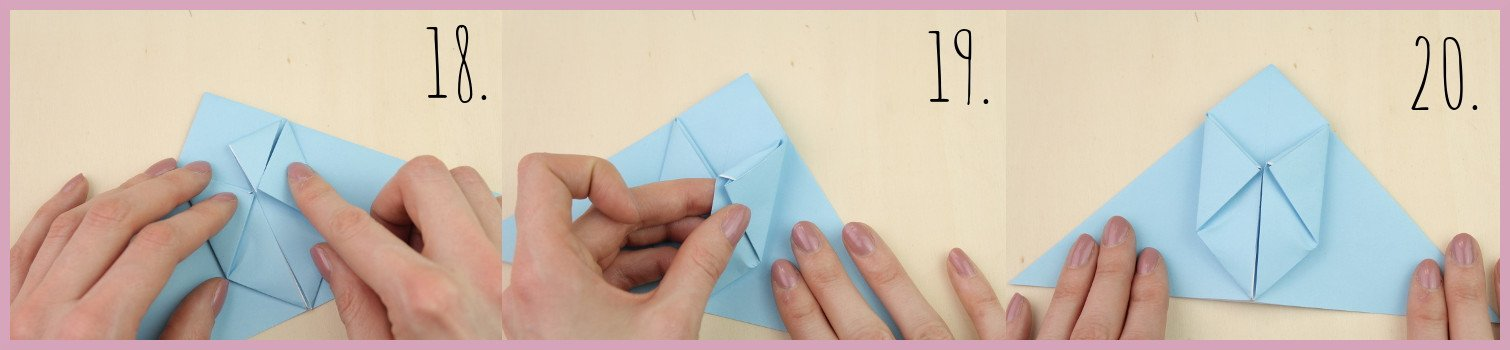 Anleitung Origami Huhn Schritt 18-20 von frau friemel