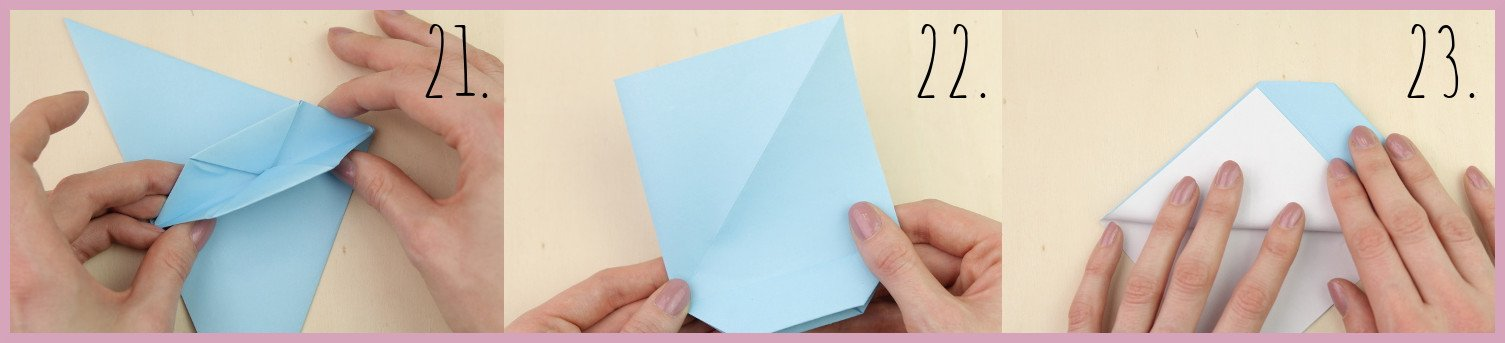 Anleitung Origami Huhn Schritt 21-23 von frau friemel