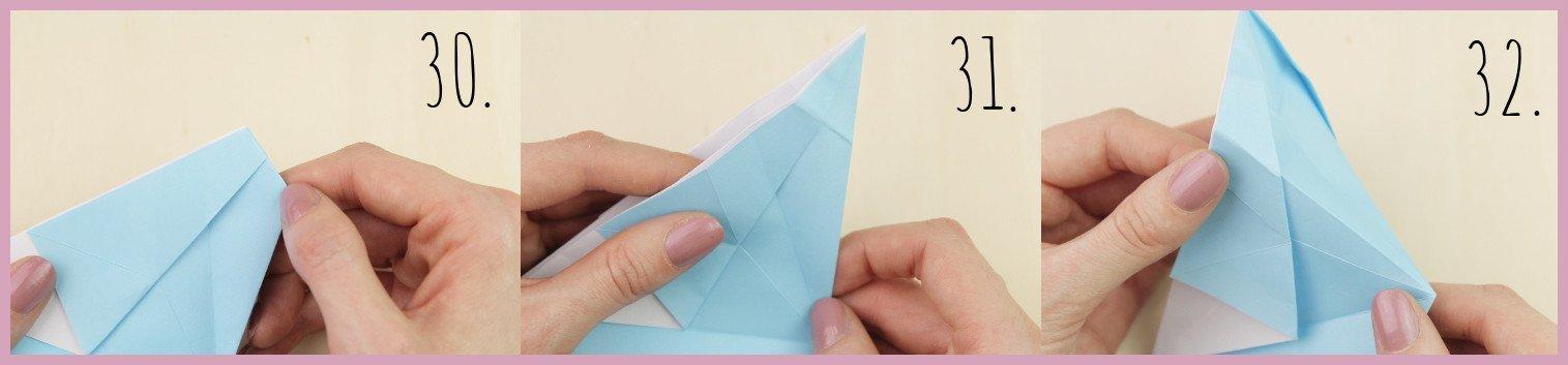 Anleitung Origami Huhn Schritt 30-32 von frau friemel