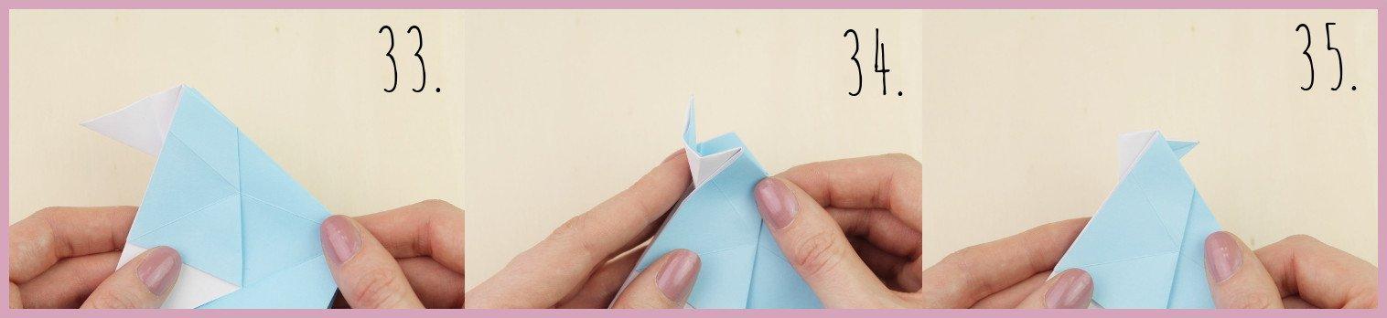 Anleitung Origami Huhn Schritt 33-35 von frau friemel