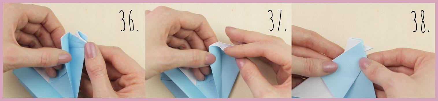 Anleitung Origami Huhn Schritt 36-38 von frau friemel