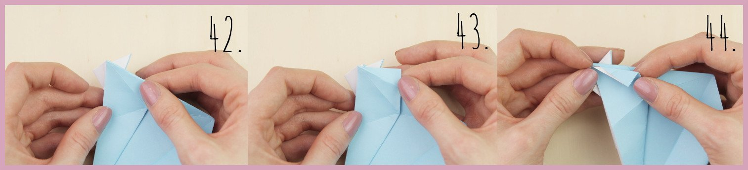 Anleitung Origami Huhn Schritt 42-44 von frau friemel
