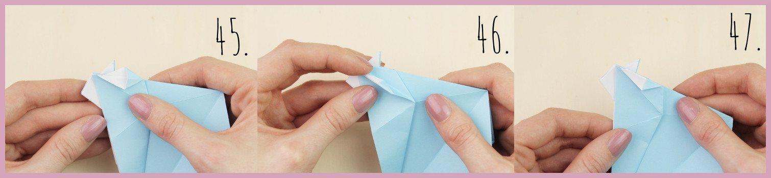 Anleitung Origami Huhn Schritt 45-47 von frau friemel