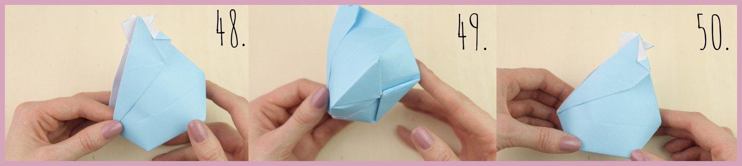 Anleitung Origami Huhn Schritt 48-50 von frau friemel