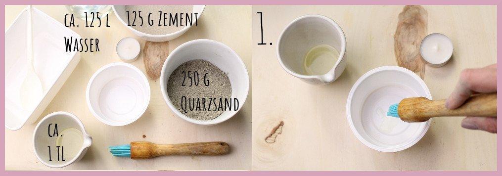 Teelichthalter aus Beton selber machen mit frau friemel Material und Schritt 1