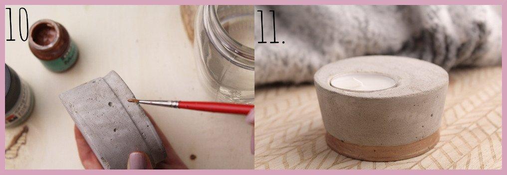 Teelichthalter aus Beton selber machen mit frau friemel Schritt 10-11